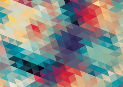 Fototapeta flat design geometric  retro colorful background