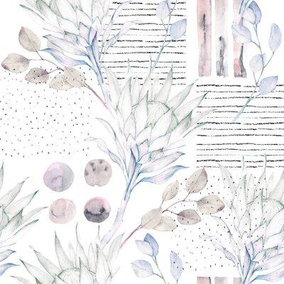 Fototapeta Floral bez szwu deseń. Streszczenie akwarela ilustracji. Grunge tła