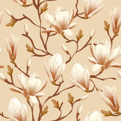 Fototapeta Floral bez szwu - magnolia