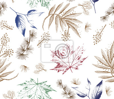 Fototapeta Floral forest seamless pattern. Wild Flowers and leaves background