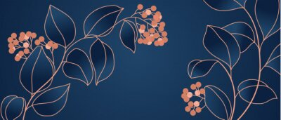 Fototapeta Floral seamless navy blue and copper metallic plant background vector for house deco