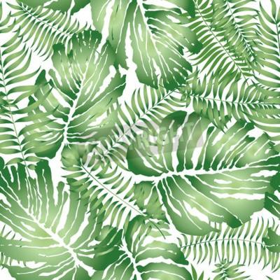 Fototapeta Floral streszczenie liści płytki wzór. Tropikalna palma pozostawia bez szwu tła