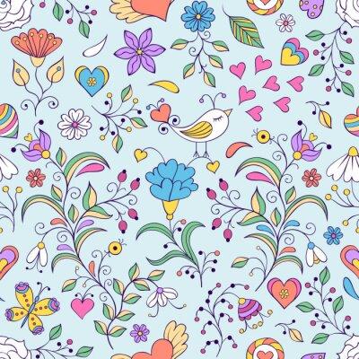 Fototapeta Floral tła z ptaków i kwiatów