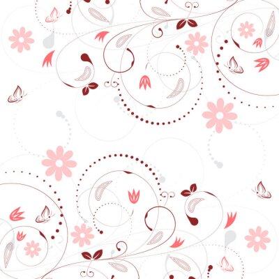Fototapeta Floral wektora tle z rocznika kwiatowym i motyli.