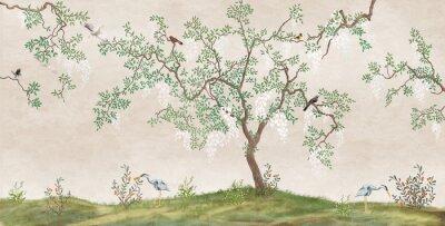 Fototapeta Flowering tree in the Japanese garden with birds. Fresco, Wallpaper for interior printing.