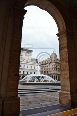 Fontanna na placu De Ferrari w Genui, Włochy - szczegóły