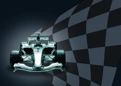 Fototapeta Formuła 1 samochód i flag