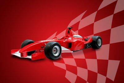 Fototapeta Formuła czerwona flaga wyścigów samochodów i