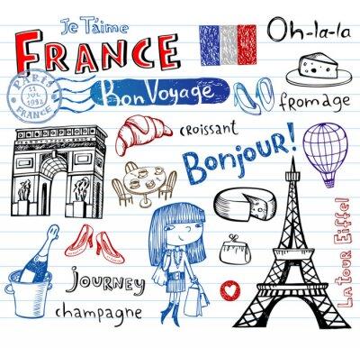 Fototapeta France symbols as funky doodles