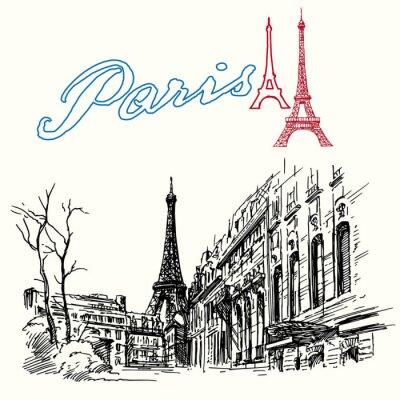 Fototapeta Francja, Paryż - Wieża Eiffla - ręcznie rysowane zestaw
