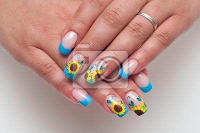 Francuski Niebieski Manicure Na Długie Kwadratowe Paznokcie