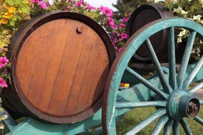 Fototapeta Francuskie wina beczki wieś winnica wino i koszyk.