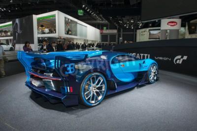 Fototapeta Frankfurt, Niemcy - 16 września 2015: Frankfurt międzynarodowa silnika (IAA) 2015 Bugatti Vision Gran Turismo - światowa premiera.