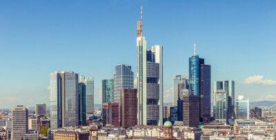 Fototapeta Frankfurt panorama panoramiczna widok z lotu ptaka, wieżowce i śródmieście