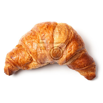 Fototapeta French puff pastry croissant isolated on white