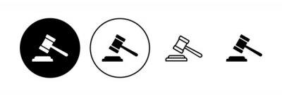 Fototapeta Gavel icon set. judge gavel icon vector. law icon vector. auction hammer