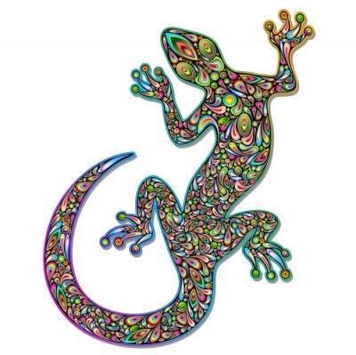 Fototapeta Gecko Geko Lizard Psychedelic Art Design-Geco Psichedelico