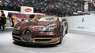 Fototapeta Genewa, Szwajcaria - 02 marca 2014: 2014 Bugatti Veyron Rembrandt Bugatti prezentowany na 84. Międzynarodowym Salonie Samochodowym w Genewie