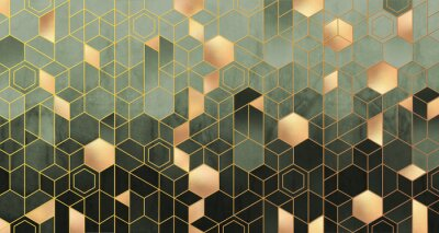 Fototapeta Geometric abstraction of hexagons in green tones on a raised background with gold elements.