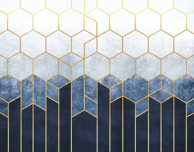 Fototapeta Geometric abstraction of hexagons on a blue relief background with gold elements. Fresco for interior printing, Wallpapers.