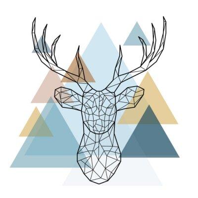 Fototapeta Geometryczna głowa jelenia. Styl skandynawski