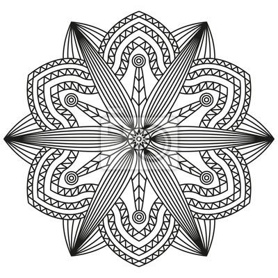 Fototapeta Geometryczny Wzór Mandali W Czerni I Bieli Ozdobne Druku Kolorowanki