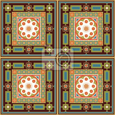 Fototapeta Geometrycznych bez szwu wzór w stylu arabskim. Ozdoba do tapet, tkanin, płytek i mozaik. Ozdobny tła. Edytowalny plik wektorowy.