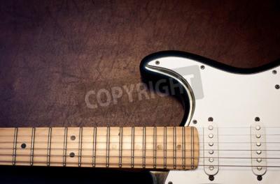 Fototapeta Gitara elektryczna ciała i szyi szczegółowo na tle drewniane archiwalne wyglądu