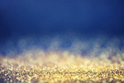 Fototapeta Glamour Luksusowe złote i niebieskie tło bokeh