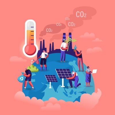Fototapeta Global Warming Concept. Tiny Characters Care of Plants on Earth, Factory Pipes Emitting Smoke, Thermometer Show High Temperature. Dust Air Pollution, Co2 Gas Emission Cartoon Flat Vector Illustration