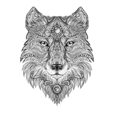 Fototapeta Głowa wilka Tatuaż dziki drapieżnik
