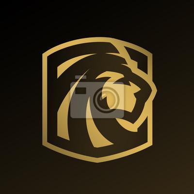 Fototapeta Głowę lwa, złote logo, godło.