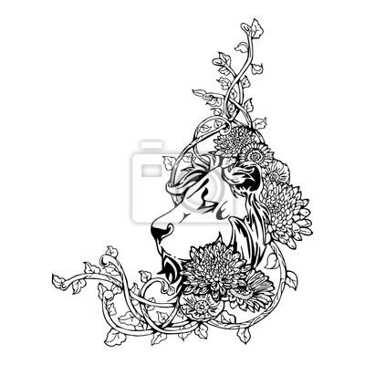 Głowica Król Lew Rocznika Tatuaż Rysunek Witka Wite Pojedyncze