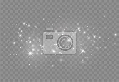 Fototapeta Glowing light effect with many glitter particles isolated on transparent background. Vector starry cloud with dust. Magic christmas decoration