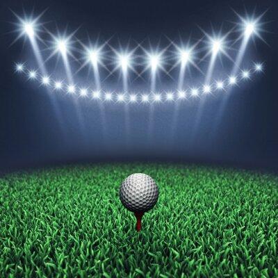 Fototapeta Golf piłkę na trawie i reflektory, turniej golfa, pole golfowe