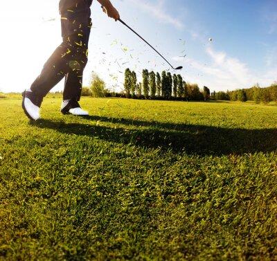Fototapeta Golf swing na kursie. Golfista wykonuje strzał w golfa