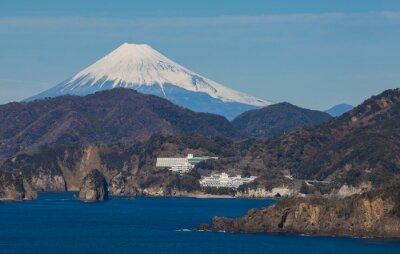 Fototapeta Góra Fuji i morze z Izu miasta prefekturze Shizuoka, Japonia.