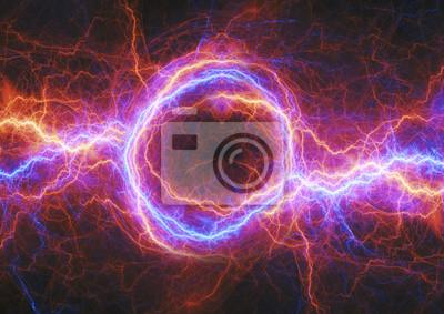 Fototapeta Gorące i zimne pioruny, tło energii