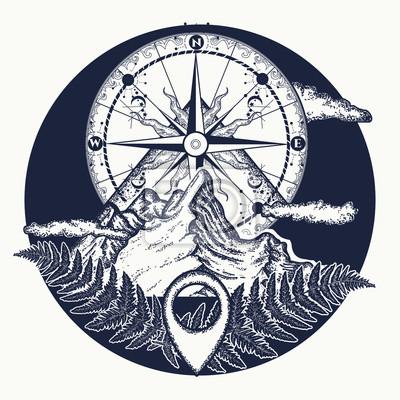 Góry I Rocznika Kompas Tatuaż I T Shirt Projekt Góry I Tatuaż