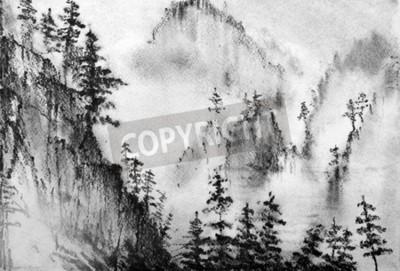 Fototapeta Góry i sosny we mgle