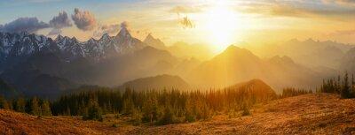 Fototapeta Góry zachód słońca