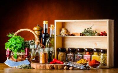 Fototapeta Gotowanie składniki, przyprawy i zioła