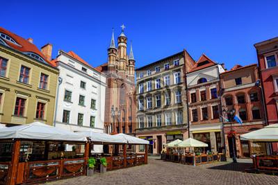 Fototapeta Gotyckie fasady na centralnym placu w Toruniu