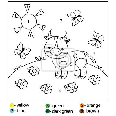 Gra Edukacyjna Dla Dzieci I Małych Dzieci Kolor Po Numerach