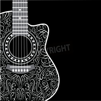 Fototapeta gradientu z ściętym gitary i stylowym ornamentem