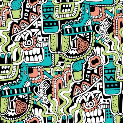 Fototapeta Graffiti bezszwowych tekstur z mediów społecznych znaki i inne błyszczące ikony. Ilustracji wektorowych z butów, tv, butelka, jedzenie, potwory głowy, liści