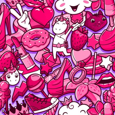 Fototapeta Graffiti wzór z dziewczęcy styl gryzmoły. Tło z dziecinną mocą szalonych elementów dziewczyna. Modny styl liniowy kolaż z dziwacznych ikon sztuki ulicy.