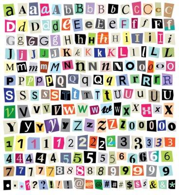 Fototapeta Grafika Ransom Note-Cut Listy papierowe, liczb, symboli