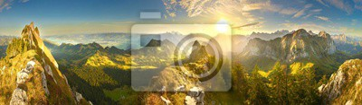 Fototapeta Great panoramic view of morning mountains in Switzerland with Lake Zürich and many tops in autumn