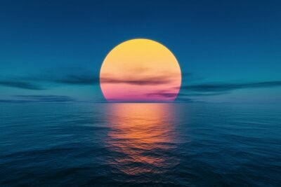 Fototapeta great sunset over the ocean
